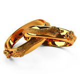 3D gold ring snake Stock Photography