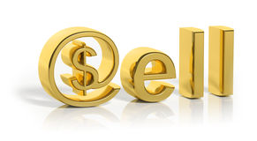 3D gold sell text with web money Stock Image