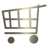 3d Gold Shopping Cart Royalty Free Stock Photography