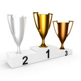 3d gold silver bronze cups on podium stock illustration