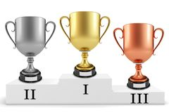 3d gold silver bronze cups on podium Royalty Free Stock Images
