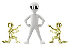 3D gold small people show its leader. 3D image. Royalty Free Stock Photo