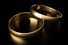 3d gold wedding ring Stock Photography