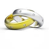 3D gold wedding ring isolated vector illustration