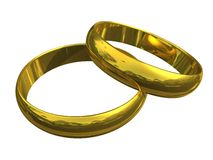 3d gold wedding rings Stock Photos