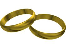 3d gold wedding rings. Gold wedding rings isolated on a white background vector illustration