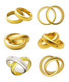 3D gold wedding rings  isolated Stock Photos