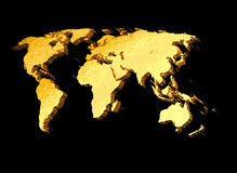 3d gold world map. In black background Royalty Free Stock Photos