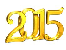 3D Gold Year 2015 on white background.  Stock Photos