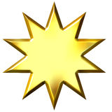 3D Golden 10 Point Star Royalty Free Stock Photo