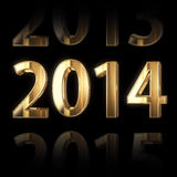 3D Golden 2014 Year Background Stock Image
