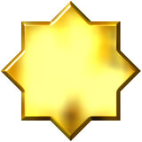 3d golden 8 point star Royalty Free Stock Photography