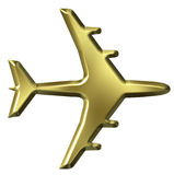 3D Golden Airplane Stock Image