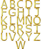 3D Golden Alphabet. Isolated in white Royalty Free Stock Photos