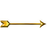 3D Golden Arrow Stock Photo