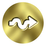 3D Golden Arrow Button Stock Photos