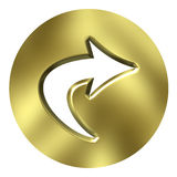 3D Golden Arrow Button Stock Images