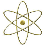 3D Golden Atom Symbol. Isolated in white Royalty Free Stock Photo