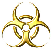 3D Golden Biohazard Symbol. Isolated in white Royalty Free Stock Image