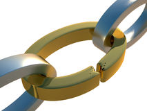 3d golden broken chain. 3D rendering of golden and steel broken chain on white background Royalty Free Stock Photo