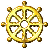 3D Golden Buddhism Symbol Wheel of Dharma. Isolated in white. Represents Buddha's teaching of the path to enlightenment Stock Photos