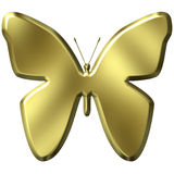 3D Golden Butterfly Royalty Free Stock Photography