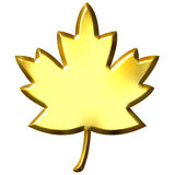 3D Golden Canadian Leaf. Isolated in white Stock Photo