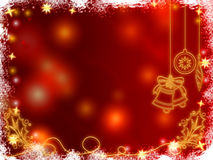 3d golden christmas bells, snowflakes, stars and c. Ones over red background with feather center Royalty Free Stock Image
