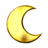 3D Golden Crescent Moon. Isolated in white Royalty Free Stock Image
