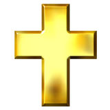 3D Golden Cross. Isolated in white Stock Photos
