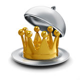 3d golden crown on silver plate Royalty Free Stock Photography