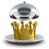 3d golden crown on silver plate Stock Image