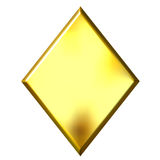3D Golden Diamond Stock Photo