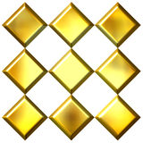 3D Golden Diamonds Stock Images
