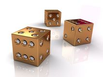 3d golden dices Stock Images