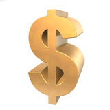 3D Golden Dollar Royalty Free Stock Image
