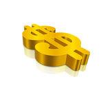 3D Golden Dollar Currency. Gold Dollar sign in perspective angle and reflection Royalty Free Stock Photo