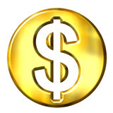 3D Golden Dollar Symbol. Isolated in white Royalty Free Stock Images