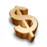 3D golden Dollar symbol Royalty Free Stock Images
