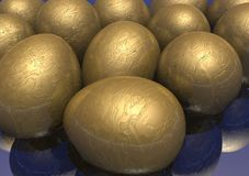 3D Golden Easter Eggs Royalty Free Stock Photography