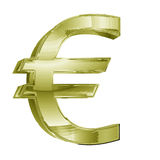 3D golden Euro dollar sign Stock Photo