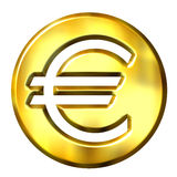 3D Golden Euro Symbol. Isolated in white Stock Photos