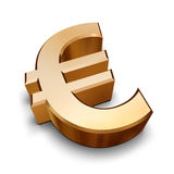 3D golden Euro symbol. A golden Euro symbol isolated on a white background (3D rendering royalty free illustration