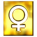 3D Golden Female Symbol Sign Stock Photography