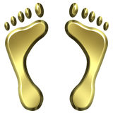 3D Golden Foot Prints Stock Images