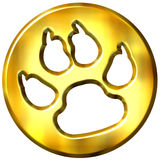 3D Golden Framed Dog Print Stock Image