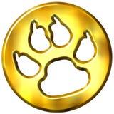3D Golden Framed Dog Print. Isolated in white Stock Image