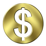 3D Golden Framed Dollar Sign. Isolated in white Stock Photography