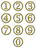 3D Golden Framed Numbers. Isolated in white Royalty Free Stock Image