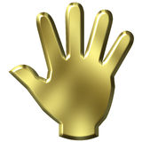 3D Golden Hand Stock Image